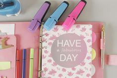 """Okładka kartek do organizera w wersji kolorystycznej FLORAL """"Have a fabulous day!"""""""