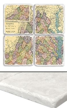 """Vermont Map Coaster Set     An impressive collection of marble coasters featuring a beautifully colored map of Virginia.   Each Virginia coaster measures 4"""" x 4"""", and is constructed of high quality, Botticino tumbled marble.  A perfect gift for weddings, anniversaries, business gifts and any other special event in your life.  Best of all, these Virginia coasters are artfully constructed in the USA!     Botticino Tumbled Marble  Each Tile Measures 4""""x4"""""""
