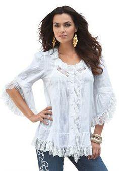 Whitney Lace Shirt by Denim 24/7   Plus Size Shirts & Blouses   Roamans