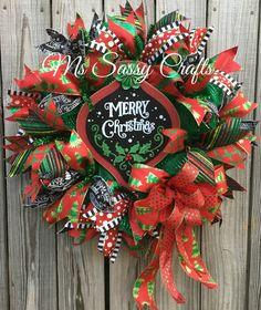Christmas Wreath - Christmas Deco Mesh Wreath - Chalkboard Christmas Wreath - Ornament Wreath - Christmas Door Hanger - Christmas Decor by MsSassyCrafts on Etsy https://www.etsy.com/listing/256525744/christmas-wreath-christmas-deco-mesh