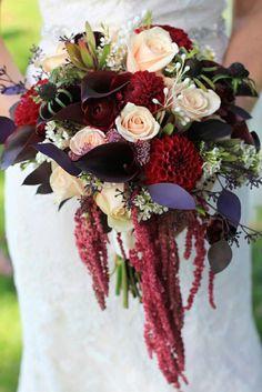 Elegant Bridal Bouquet: Peach Roses, White Waxflower, Red Dahlias, Cranberry Ranunculus, Chocolate Mini Callas, Leucadendrons, Red Amaranthus, Burgundy Foliage + Additional Coordinating Florals & Foliage