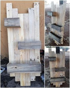 Reshaped wood pallet planter stand adds variety to your gardening activity by offering differ pot holders at distance that you have customized. The coarse and rough texture of this furniture give your garden an organic and natural look. Placing it at different places is easier and hence giving your more options to keep it at a different place.