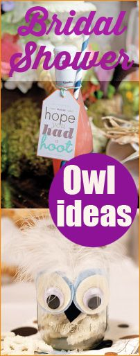 """Owl Party. Look """"hoo"""" is getting married! Help the bride fill her nest and celebrate her and her lovebird with these owl-some party ideas! These ideas would make for a great kids party or baby shower too."""