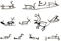 Reindeer with carriage symbol in Sámi art. [Drawings of Saami symbology used on ritual drums & possibly in prehistoric rock art in northern Eurasia. Drum Patterns, Deer Art, Viking Jewelry, Indigenous Art, Ancient Art, Rock Art, Body Art Tattoos, Reindeer, Drums