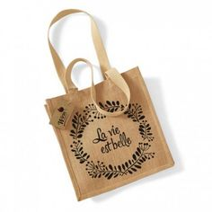 "Bolsa Yute ""La vi est belle"" Types Of Purses, Types Of Handbags, Types Of Bag, Work Bags, Jute Bags, Market Bag, Planner, Gift Bags, Canvas Tote Bags"