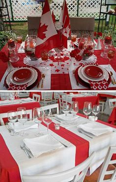 50 Canada Day Table Decorations, Centerpieces and Summer Party Ideas canada day party table decorati Canada Day Party, Canada Day 150, Happy Canada Day, O Canada, Canadian Party, Canada Day Crafts, Canada Holiday, Party Table Decorations, Decoration Party