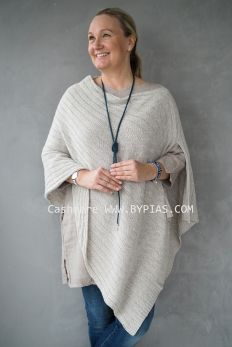 Cashmere Poncho CABLE, Beige