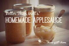 """""""Better Than Mott's"""" Homemade Applesauce  // I put off canning applesauce because after being raised on Mott's applesauce, I had no desire to eat more. Until I tried this applesauce recipe. Yes, it's way better than Mott's."""