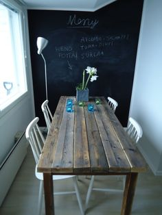 Dining table made of recycled wood