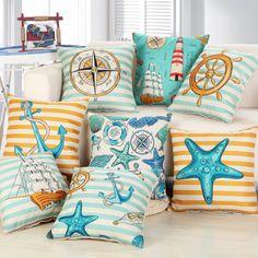 Retro Style European Retro Style Marine Biology Cushion Cover Sea Conch Shell House Pillow Case Linen Cotton Pillows Covers