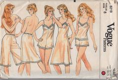 Vogue 8219 Misses Camisole Teddy Slips Culotte Liner and Panties Pattern 1980s womens vintage sewing pattern by mbchills,