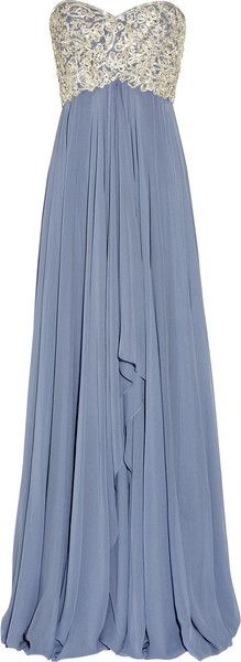Silver and light blue empire waist strapless floorlength chiffon dress with delicate silver mesh work on the top half