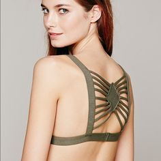 Free People Strappy Bralette OD Green NWOT perfect for an open back top. This item is sold out and I'm on the fence about keeping this  Free People Intimates & Sleepwear Bras