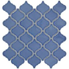 Merola Tile Lantern 12-1/2 in. x 12-1/2 in. Blue Porcelain Mesh-Mounted Mosaic Tile-FKOLBT73 at The Home Depot