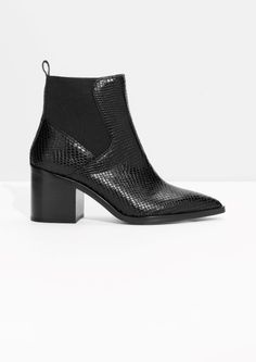 & Other Stories image 1 of Python Embossed Leather Boots in Black