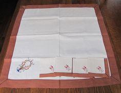 Vintage Embroidered Tablcloth & Napkins, Embroidered Basket of Flowers, Handmade