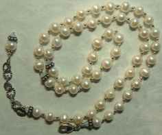 Hand knotted natural creamy fresh water pearls by jancashdesigns1