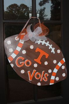 Wooden Tennessee Go Vols Football Door Hanger by ASouthernCreation