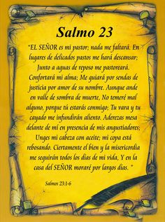 Salmo Psalm in Spanish, in an attractive scroll. I speak and read enough Spanish to enjoy this. There is something about the familiar words in another language that brings out depths! Biblical Quotes, Bible Quotes, Bible Verses, Mama Quotes, God Prayer, Prayer Quotes, Catholic Prayers In Spanish, Miracle Prayer, Psalm 91