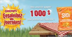 Gagnez un chèque de 1 000 $ Chips, Snack Recipes, Snacks, Bread, Free Stuff, Black Forest Cake, Promotional Giveaways, Prize Draw, Free Samples