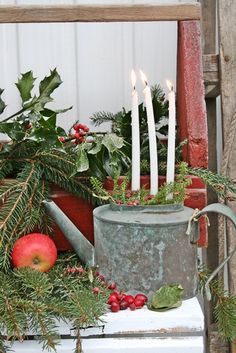 Simple Decorations For Christmas. Very rustic and perfect for the Winter, Christmas and winder holiday. DIY and Beautiful Candle and candle holder ideas using Tapers, pillars, and tealight candles or LED candles. Christmas Porch, Noel Christmas, Primitive Christmas, Outdoor Christmas Decorations, Country Christmas, All Things Christmas, Winter Christmas, Vintage Christmas, Christmas Crafts