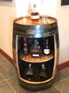 Bourbon barrel bar display case (Buffalo Trace, WoodFord, Jim Beam, Four Roses authentic barrels wi Wine Barrel Chairs, Wine Barrel Bar, Whiskey Barrel Furniture, Bourbon Barrel, Whiskey Barrels, Jim Beam, Diy Wooden Projects, Wooden Diy, Barris