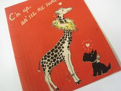 Vintage 1930s Glamorous Giraffe and Scottie Dog by TheLonelySock