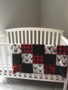 Items similar to HELLO BEAR DEER stag buck & red Plaid and black minky dot baby blanket with fitted crib sheet on Etsy Rustic Baby Rooms, Baby Boy Rooms, Baby Bedroom, Baby Boy Nurseries, Nursery Room, Nursery Ideas, Baby Lane, Crib Bedding Boy, Baby Room Design