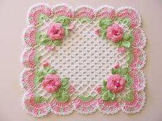 Toalha de crochê quadrada rosaa