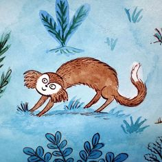 Another endpaper monkey  #monkeys #endpapers #kidlitart #childrensillustration #childrensbooks