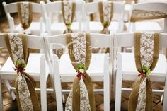 Discover ideas about burlap chair sashes Wedding Reception Chairs, Wedding Chair Sashes, Wedding Seating, Hessian Wedding, Wedding Arch Rustic, Rustic Weddings, Lace Wedding Decorations, Wedding Centerpieces, Burlap Chair Sashes