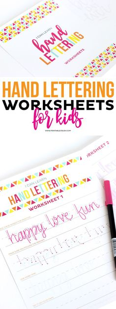 Teach Kids Hand Lettering with these FREE Hand lettering Worksheets for kids! Th… Teach Kids Hand Lettering with these FREE Hand lettering Worksheets for kids! This is great for teaching your kids how to write in cursive, too! Creative Lettering, Brush Lettering, Lettering Ideas, Bujo, Journaling, Worksheets For Kids, Printable Worksheets, Free Printable, Printables