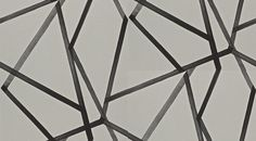 Sumi Linen/Onyx (110886) - Harlequin Wallpapers - A pretty angular geometric design created with ribbon lines with a hand paint effect criss crossing over a fabric effect background.  Shown in the black on pale grey colourway.  Please request sample for true colour match. Wide width product. Paste the wall.