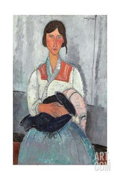 Gypsy Woman with Baby, 1919 Giclee Print by Amedeo Modigliani at Art.com