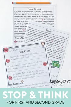 These stop and think comprehension passages and questions are a great tool to use during your literacy block! Students read (or listen to) the text and stop 3 times throughout the story to check for understanding. Each question is strategically placed to help with different comprehension skills (retelling, predicting, questioning, etc.) Download the preview to try a FREE passage!  #firstgradecomprehension #stopandthink #secondgradecomprehension