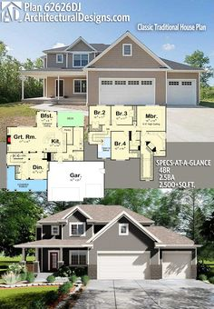 Architectural Designs House Plan 62626DJ gives you 4 beds, 2.5 baths and over 2,500 sq. ft. of heated living space. Ready when you are. Where do YOU want to build? #62626DJ #adhouseplans #architecturaldesigns #houseplan #architecture #newhome #newconstruction #newhouse #homedesign #dreamhome #dreamhouse #homeplan #architecture #architect #traditional