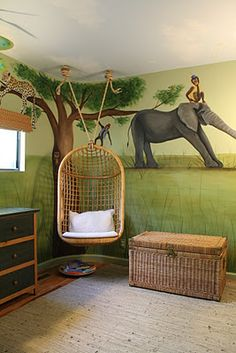 hanging basket chair in studio room Bedroom Tv Wall, Kids Bedroom, Bedroom Decor, Kids Rooms, Bedroom Ideas, Jungle Room, Jungle Nursery, Jungle Theme, Tv Wall Design