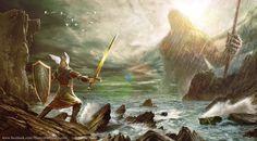 Ulmo appears before Tuor by Leone-art on deviantART