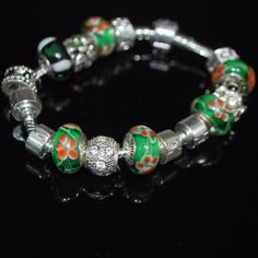 Orange Petals Murano Glass Bead Charm Bracelets