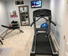 Our home gym home gym garage, home gym basement, diy home gym, basement wor Basement Workout Room, Home Gym Basement, Home Gym Garage, Workout Room Home, Diy Home Gym, Gym Room At Home, Home Gym Decor, Home Workout Equipment, Workout Rooms