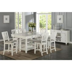 For your casual dining space, the Armus counter height table collection provides ample seating for your family and friends. You can place extra napkins in the small drawers and also three layers of bottom shelf underneath the table for guests. Counter Height Kitchen Table, Bar Height Dining Table, White Dining Table, Small Dining, Dining Table Chairs, Dining Furniture, Rustic White, White Wood, Contemporary Dining Sets