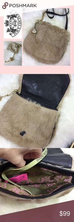"""Rabbit Fur Purse Removable strap for a clutch.  Rabbit fur and leather.  Charm has one small stone missing out of heart but you can't notice it at all.  Heart and key charm is also removable.  Magnetic closure. Approx 10"""" wide, 9"""" tall and a handle drop of 20"""". Juicy Couture Bags Shoulder Bags"""