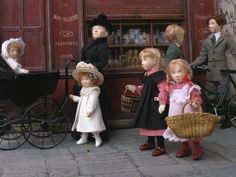 Dollhouse dolls and street scene. Ty LadyPage