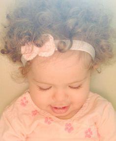 Pink Crochet Bow Baby and Girls Headband on Etsy, $7.00