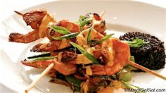 camarones a la parilla  | gulf shrimp · garlic marinade · zuchinni · bell peppers · chayote · black rice · sugar snap peas · roasted red pepper-coconut cream sauce