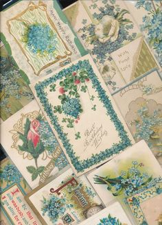 Nice Lot of ~25 VICTORIAN FORGET-ME-NOTS blue~ FLOWERS greetings Postcards-a422 | eBay
