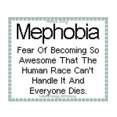 Funny Cross Stitch Pattern, Instant Download, PATTERN ONLY - Mephobia Quote