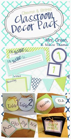 This is a huge pack of decor resources for your classroom! It includes a… Mint Classroom, 3rd Grade Classroom, High School Classroom, Classroom Design, Kindergarten Classroom, Future Classroom, Physics Classroom, Classroom Organisation, Classroom Displays