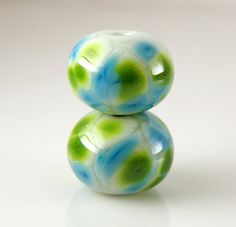 Blueberry Lime Martini Bead Pair 8mmx12mm  by lampworkbyamy, $6.00