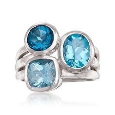 4.05 ct. t.w. Blue Topaz Ring in Sterling Silver